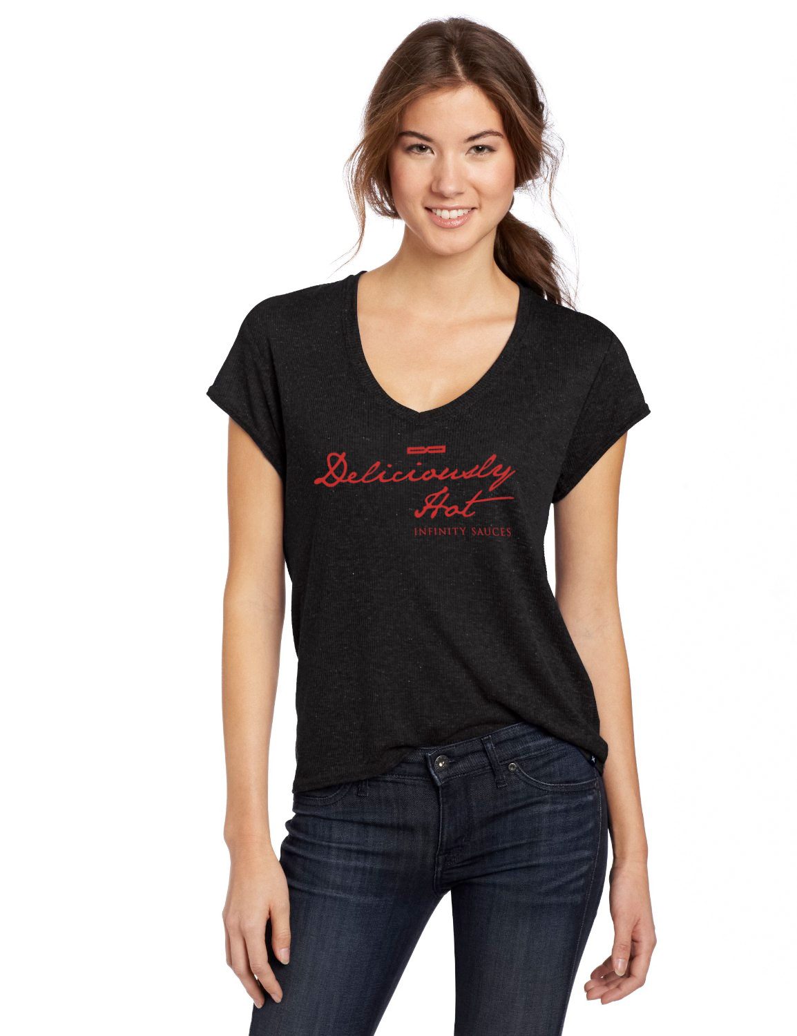 deliciously hot ladies v neck tee infinity sauces